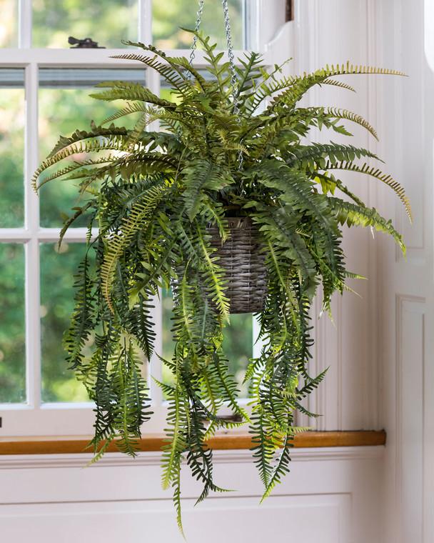 Mixed Hanging Ferns Silk Foliage Planter