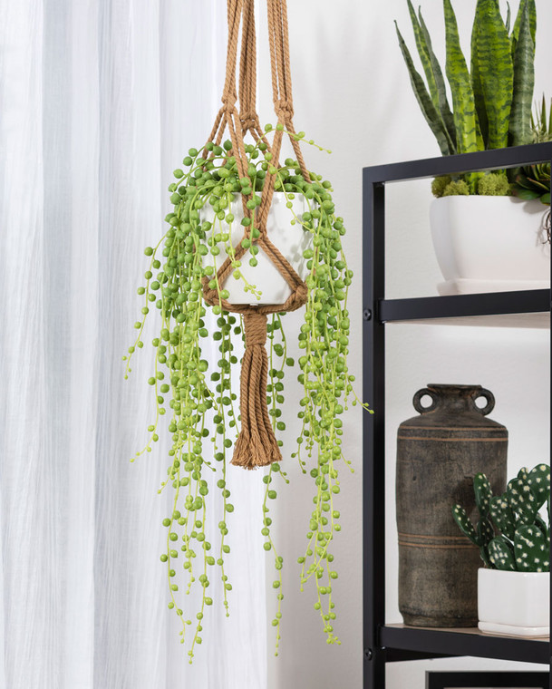 Hanging String of Pearls Faux Succulent Plant