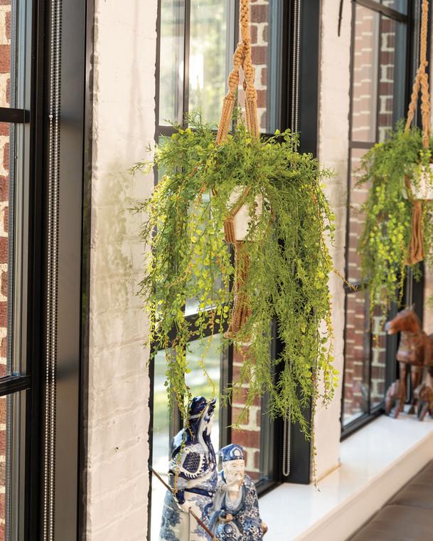 Hanging Mini Hosta & Springerii Faux Foliage Planter