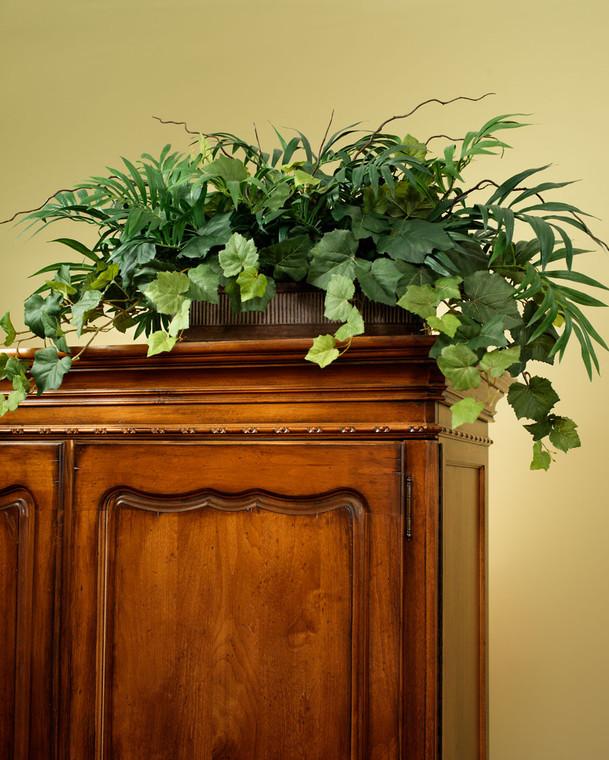 Elegant Palm & Ivy Armoire Silk Planter Assorted Silk Ivy Varieties in Decorative Aged Planter