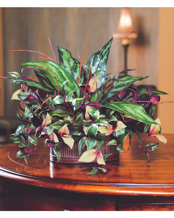 silver king & wandering jew silk planter, cascading assortment, mauve with variegated verdant leaves in aged metal planter