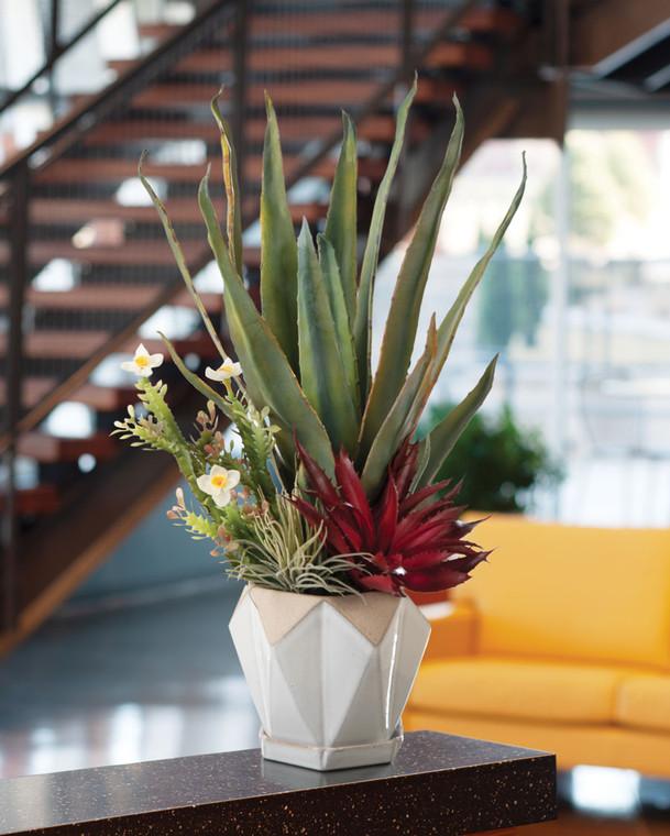 Agave & Cactus Faux Succulent Arrangement