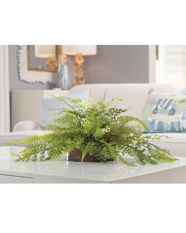 Mixed Ferns & Berries<br>Faux Foliage Planter