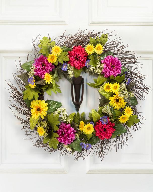 Zinnia & Daisy Silk Flower Wreath