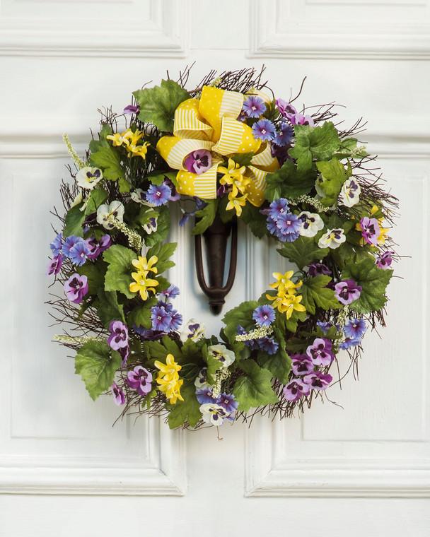 Pansy & Dianthus Silk Flower Wreath