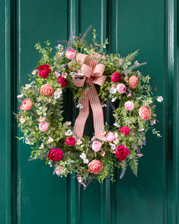 Ranunculus & Lavender Silk Flower Wreath