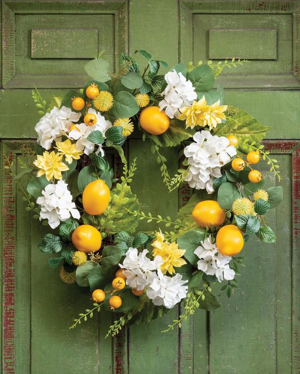 Lemon & Hydrangea Faux Flower Wreath