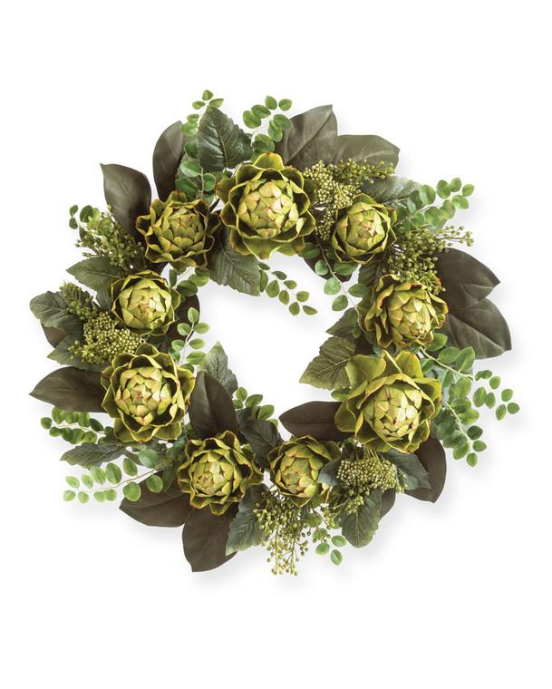 "Faux Artichoke & Mixed Greenery<br>22"" Foliage Wreath"