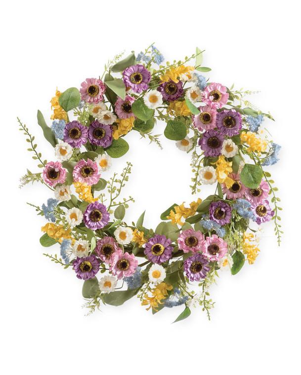 "Meadow Daisies & Zinnias<br>22"" Faux Flower Wreath"
