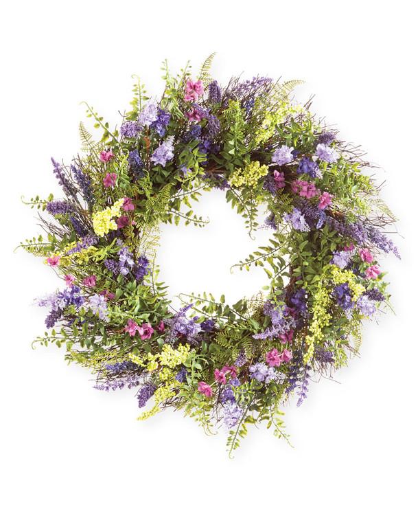 "Mixed Lavender<br>24"" Faux Flower & Foliage Wreath"
