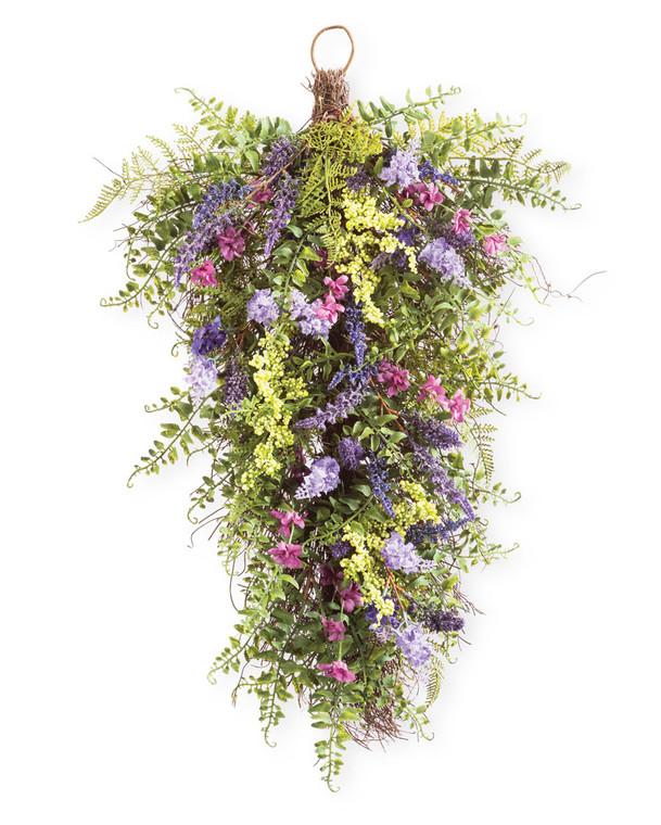 Mixed Lavender<br>Faux Flower & Foliage Teardrop
