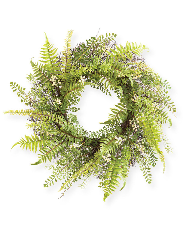 """Fern & Berry<br>24"""" Faux Foliage Wreath"""