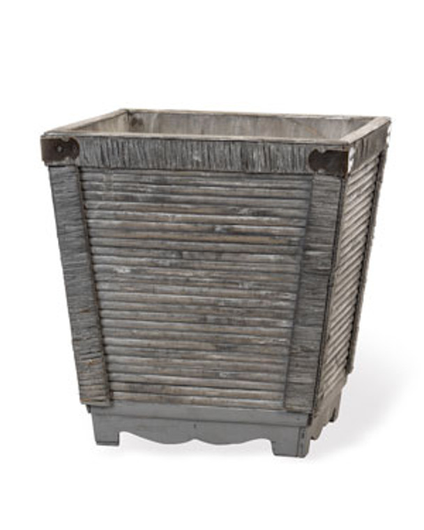 """Rattan/Wood Decorative Container - 14""""W x 15""""H - Grey Finish"""