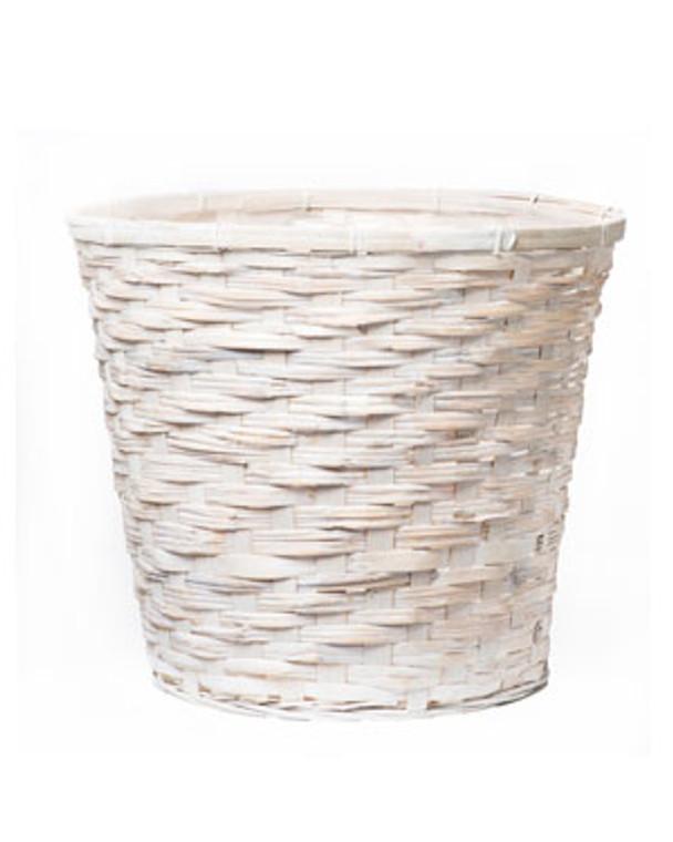 """White Wicker Tree & Plant Basket - 16"""" W x 15.5"""" H"""