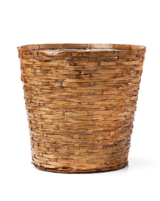 "Wood Stained Wicker Tree & Plant Basket - 12"" W x 12"" H"