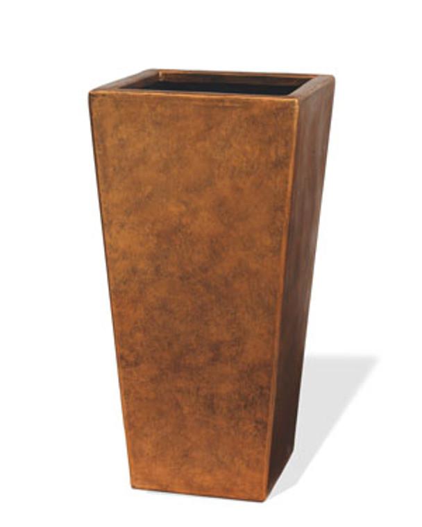 "Fiberglass Tall Cubico Container - 16""W x 31""H - Aged Copper"