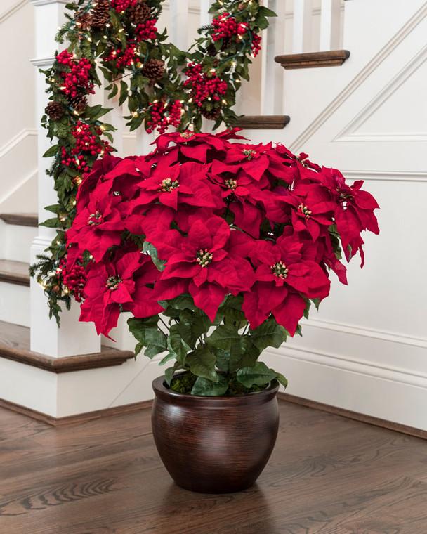 Red silk poinsettia extra large lifelike holiday decor