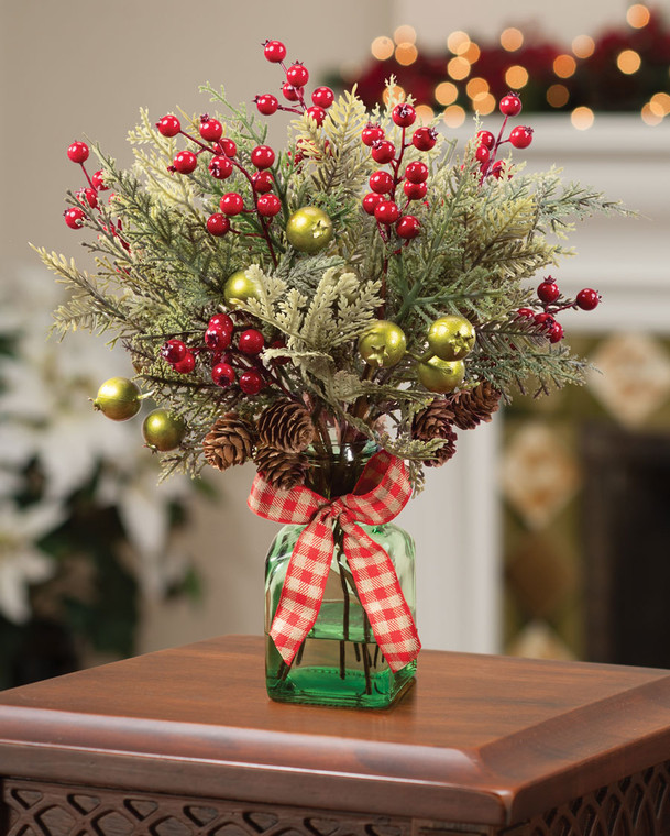 Forevergreens & Berries Artificial Holiday Accent
