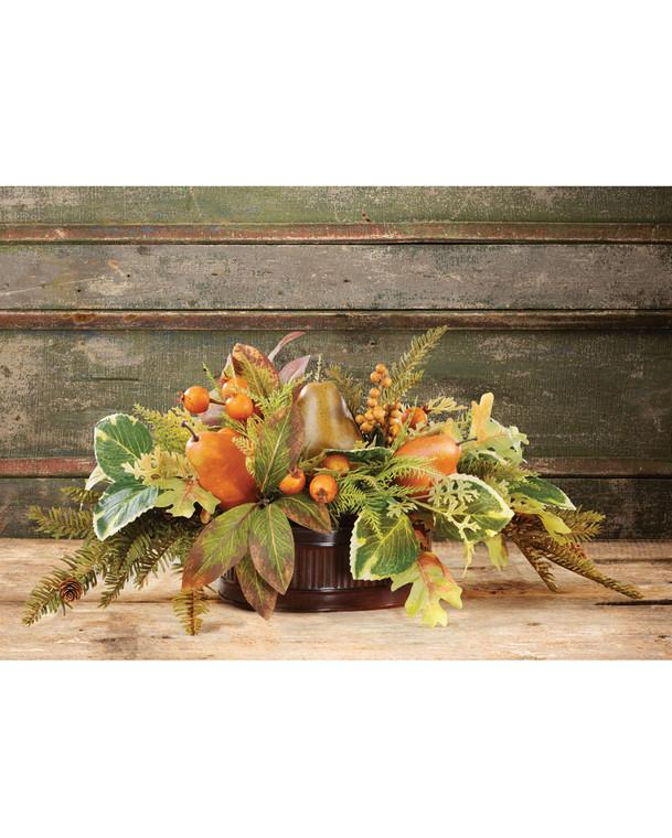 Autumn Pears & Berries Faux Fruit & Silk Foliage Centerpiece