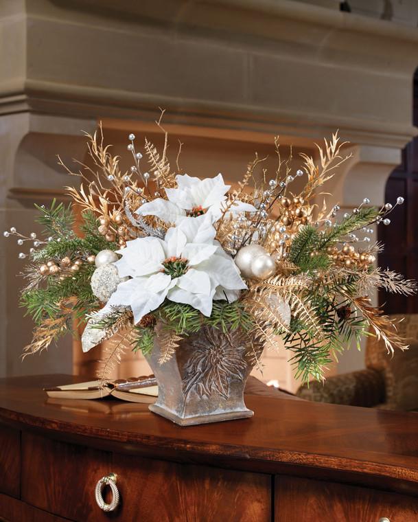 Pearl & Gold Elegance Silk Poinsettia Centerpiece