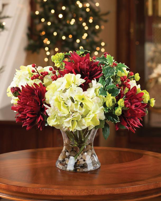 Hydrangea & Dahlia Silk Flower Holiday Centerpiece