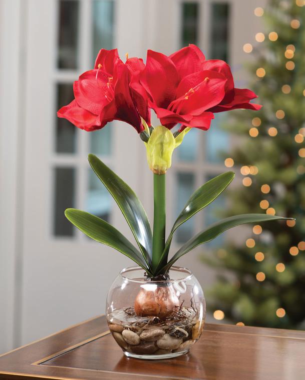 Red Amaryllis Accent Silk Flower Holiday Design