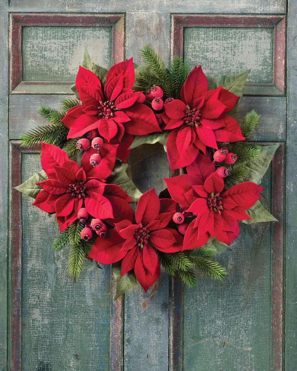 Poinsettia & Pine Artificial Holiday Wreath