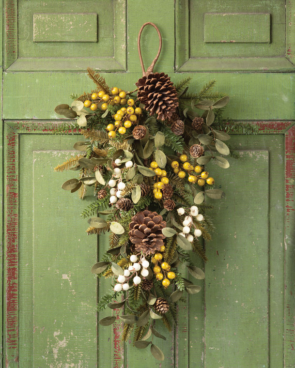 Hemlock, Mistletoe & Berries Artificial Holiday Teardrop