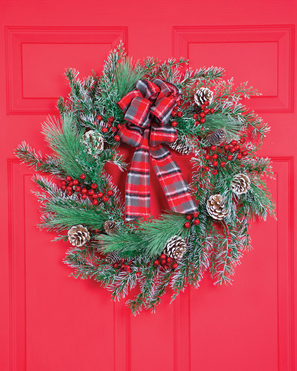 """Winterberry Frost 22"""" Artificial Holiday Wreath"""