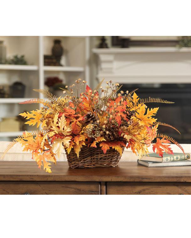 Autumn Leaves Basket Faux Fall Foliage Arrangement