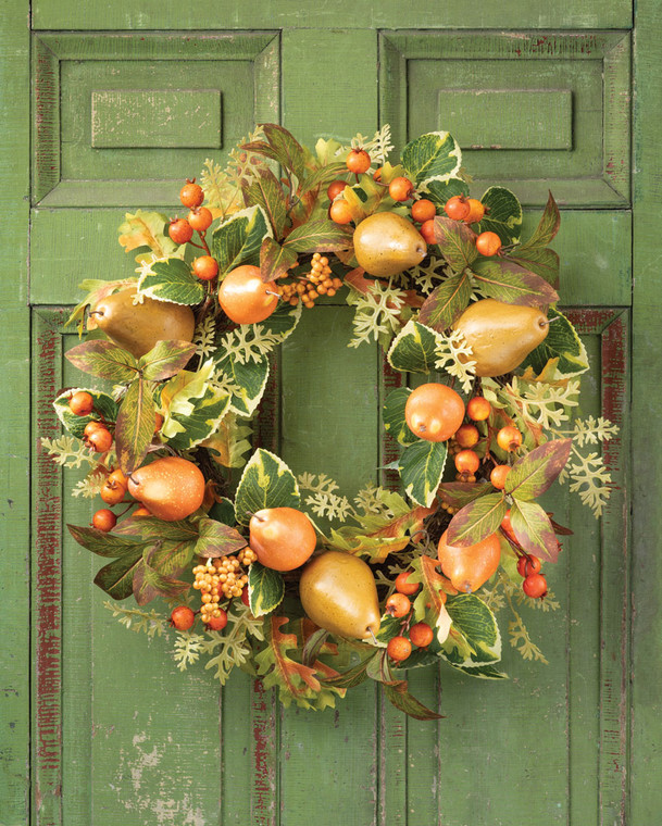 Autumn Pears & Berries Faux Fruit and Silk Foliage Wreath