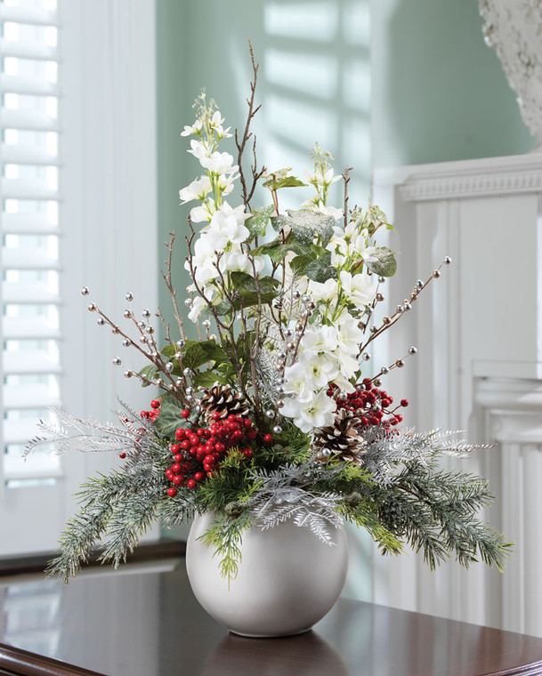 Delphinium Berries & Iced Pine Silk Holiday Arrangement