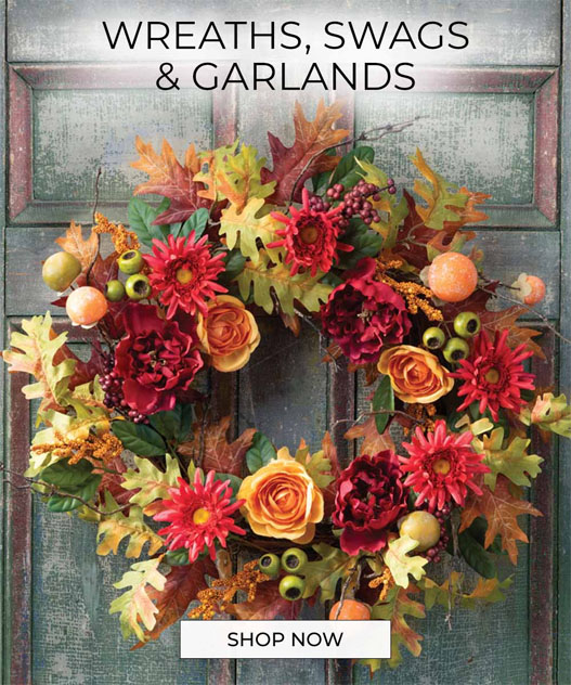 FAUX WREATHS - Our collection of artificial wreaths, swags, and garlands make seasonal decorating quick, easy, and fun. Available at Petals.