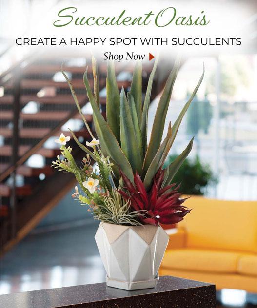 Succulent Artificial florals and plants, available at Petals.
