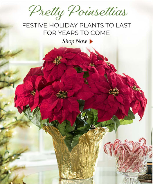 Poinsettia silk and artificial Holiday Plants by Petals.com