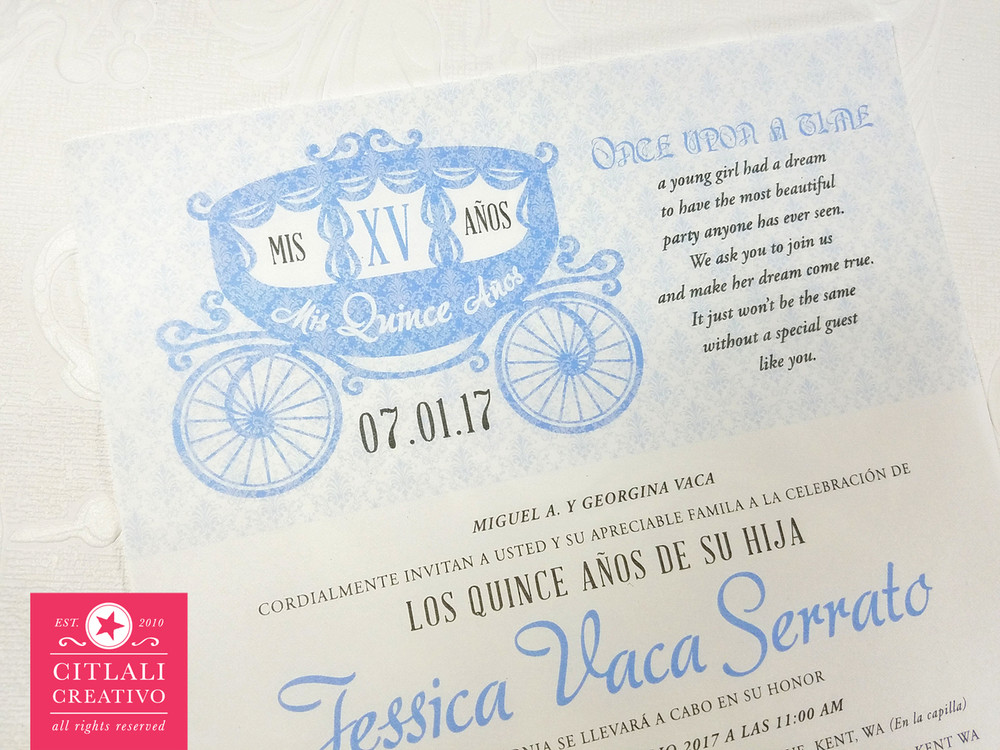 Enchanted Fairytale Quinceanera Vellum (Translucent) Invitations