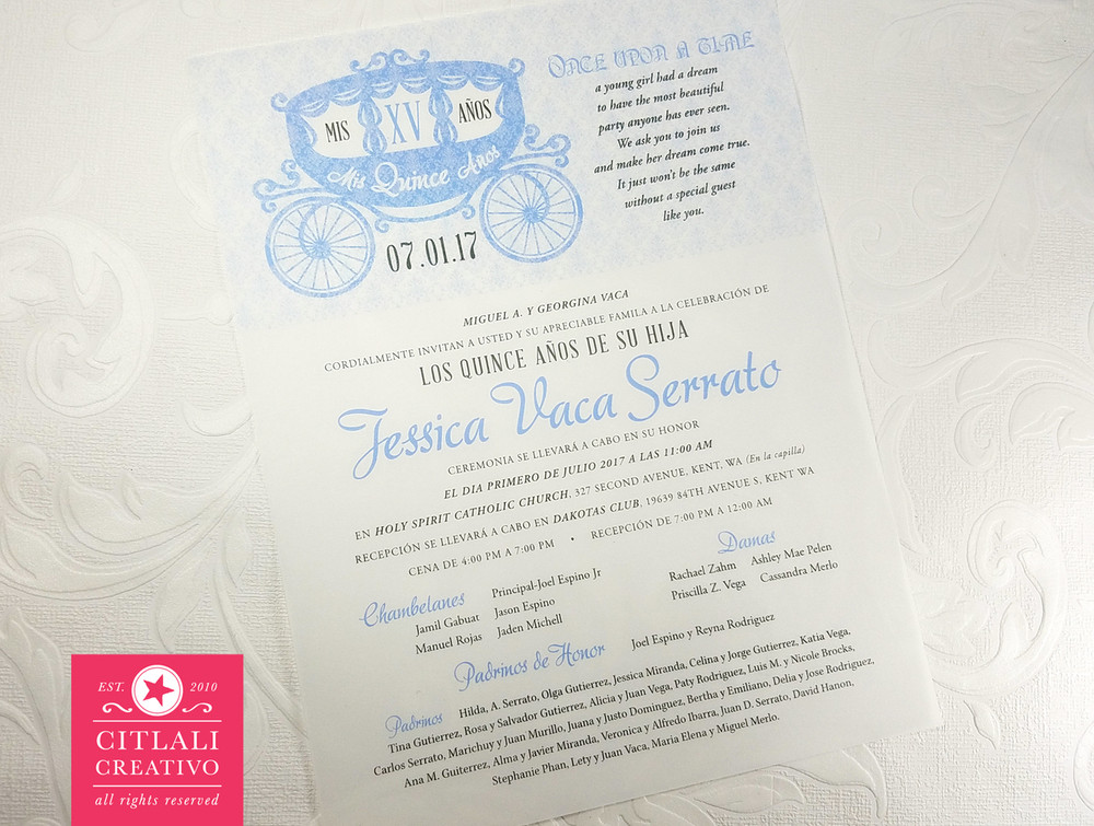 Enchanted Fairytale Carriage Quinceanera Translucent Invitations