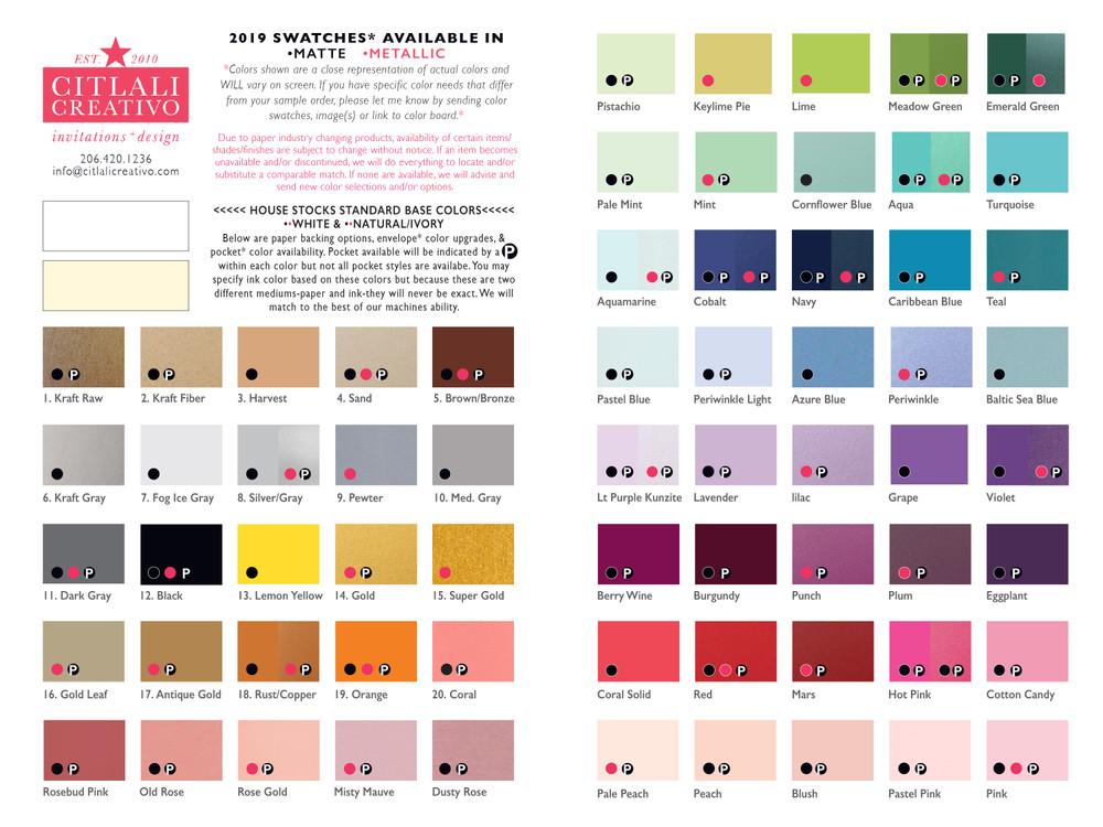 Folder / Ink color ideas / envelope color upgrade options