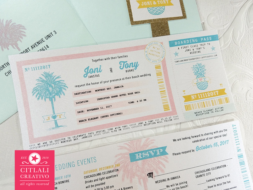 Aquamarine & Glitter Boarding Pass Wedding Invitations in Ticket Sleeve