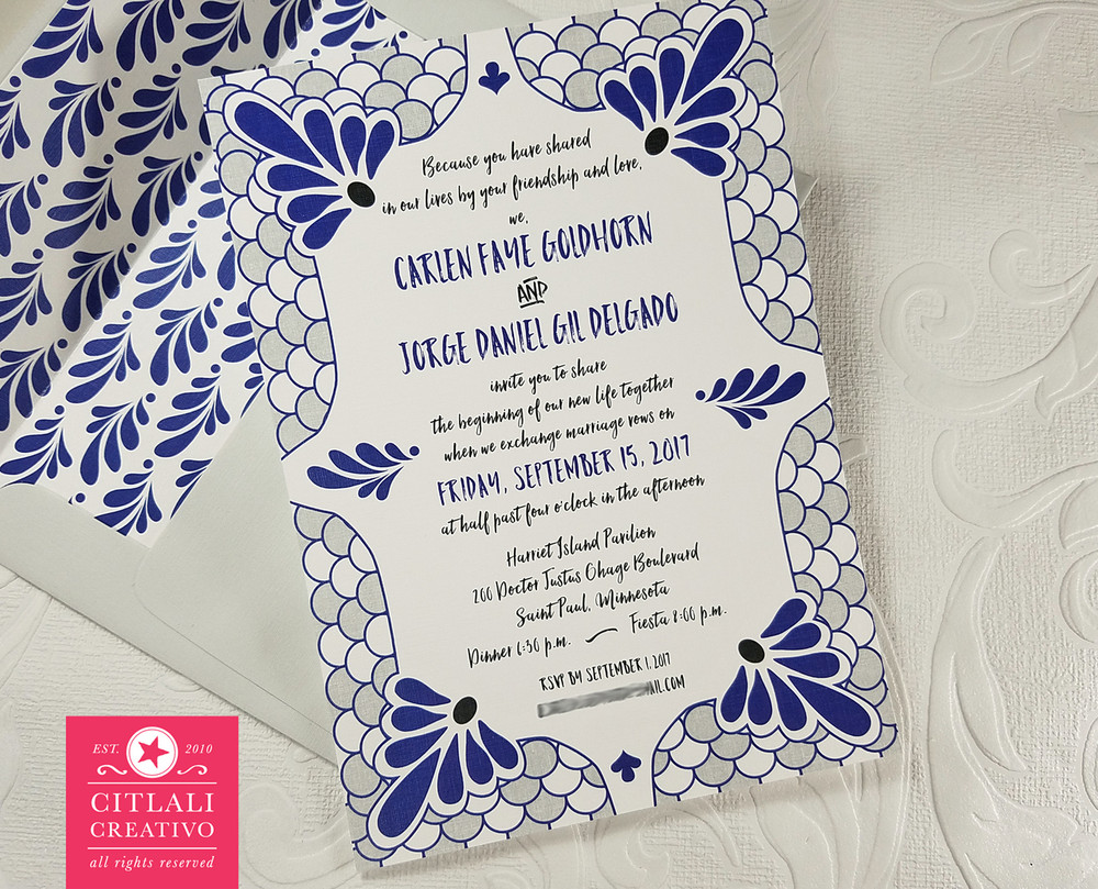 Blue & Gray Spanish Tile Linen Wedding Invitations
