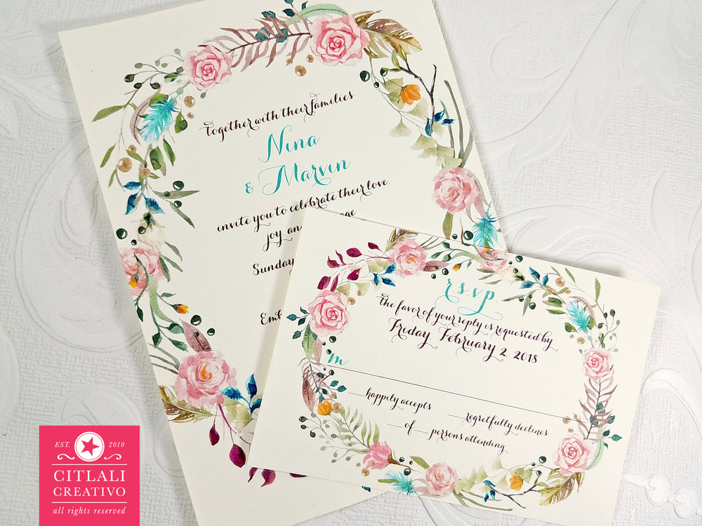 Watercolor Floral Wreath Wedding Invitations