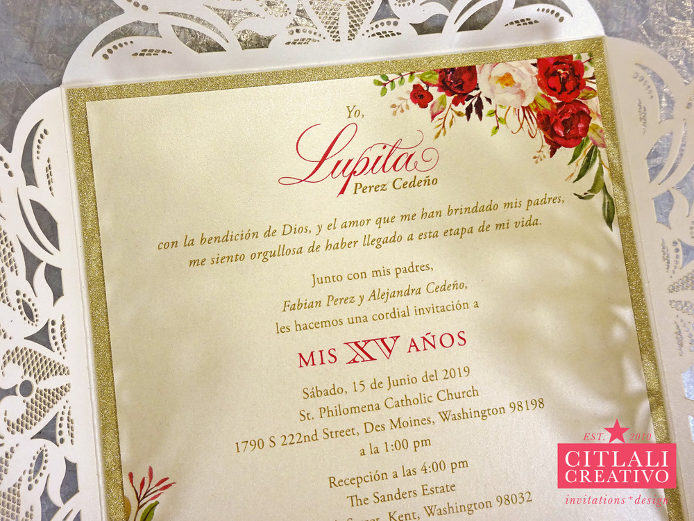 Gold Glitter & Watercolor Roses Laser Cut Quinceañera Invitations