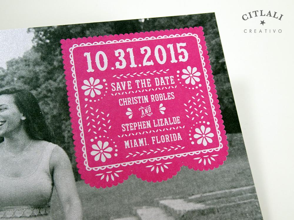 Photo Papel Picado Wedding Save the Dates