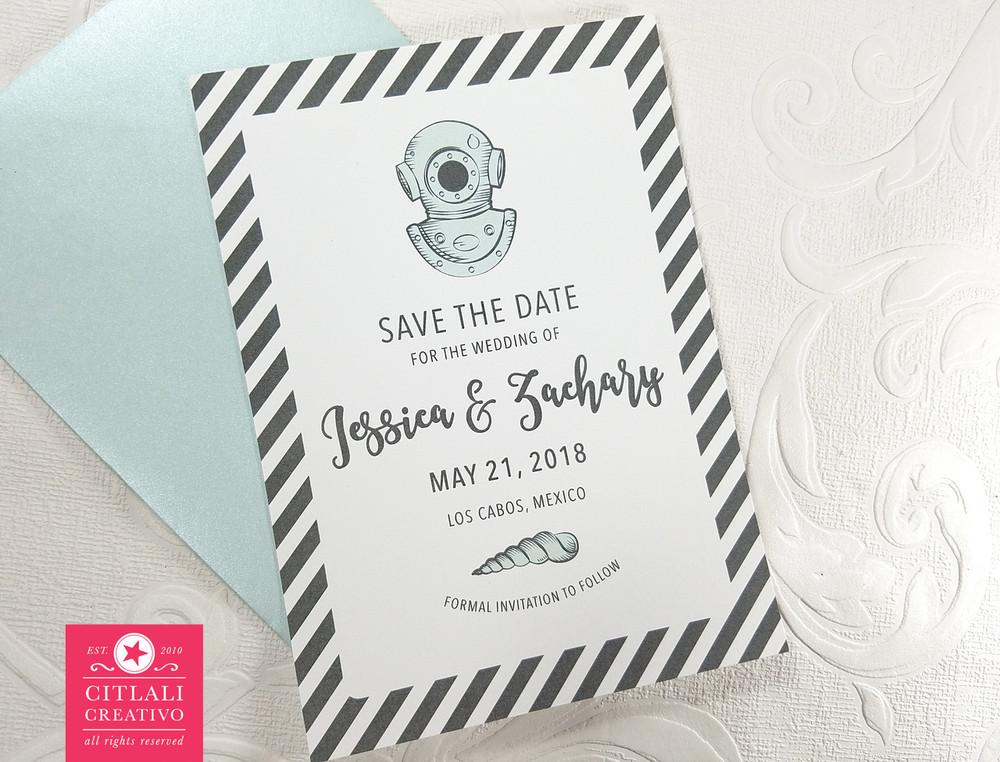 Vintage Scuba Diver Helmet Wedding Save the Dates