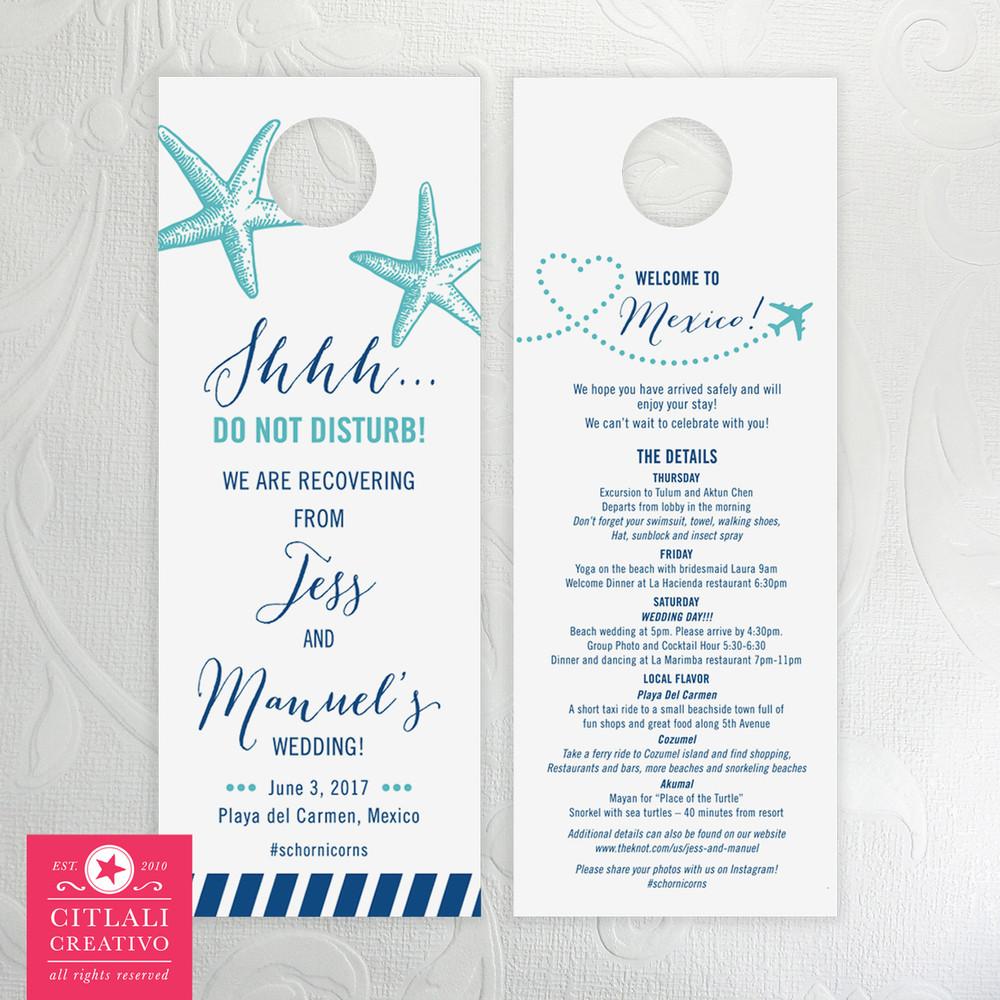Starfish Plane Destination Wedding Guest Hotel Door Hangers