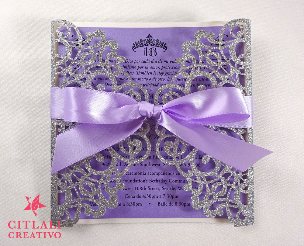 Silver Glitter Crown Princess Laser Cut Sweet 16 Invitations