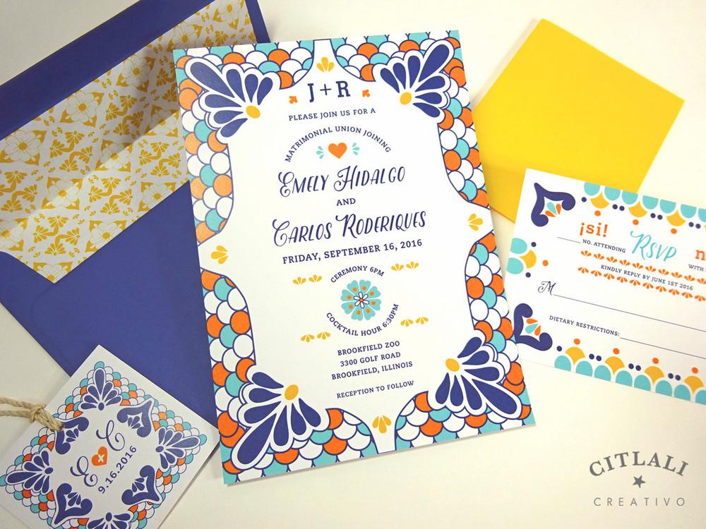 Talavera Spanish Tile Wedding Invitations