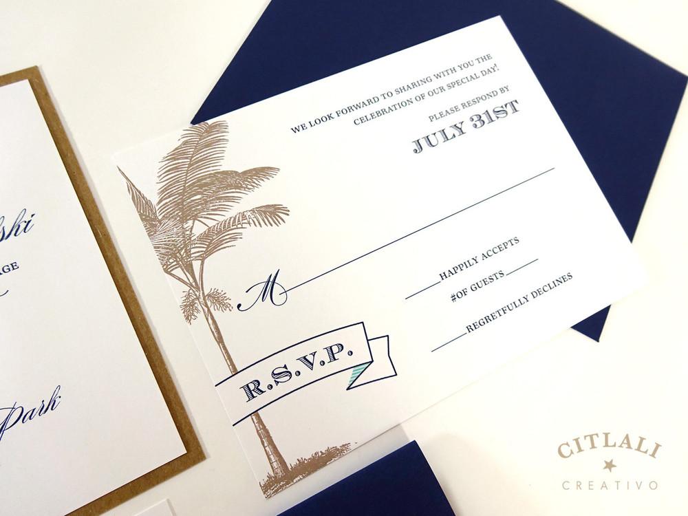 Palm & Banner Wedding Invitation in Kraft & Navy and a tiny pop of blue/aqua