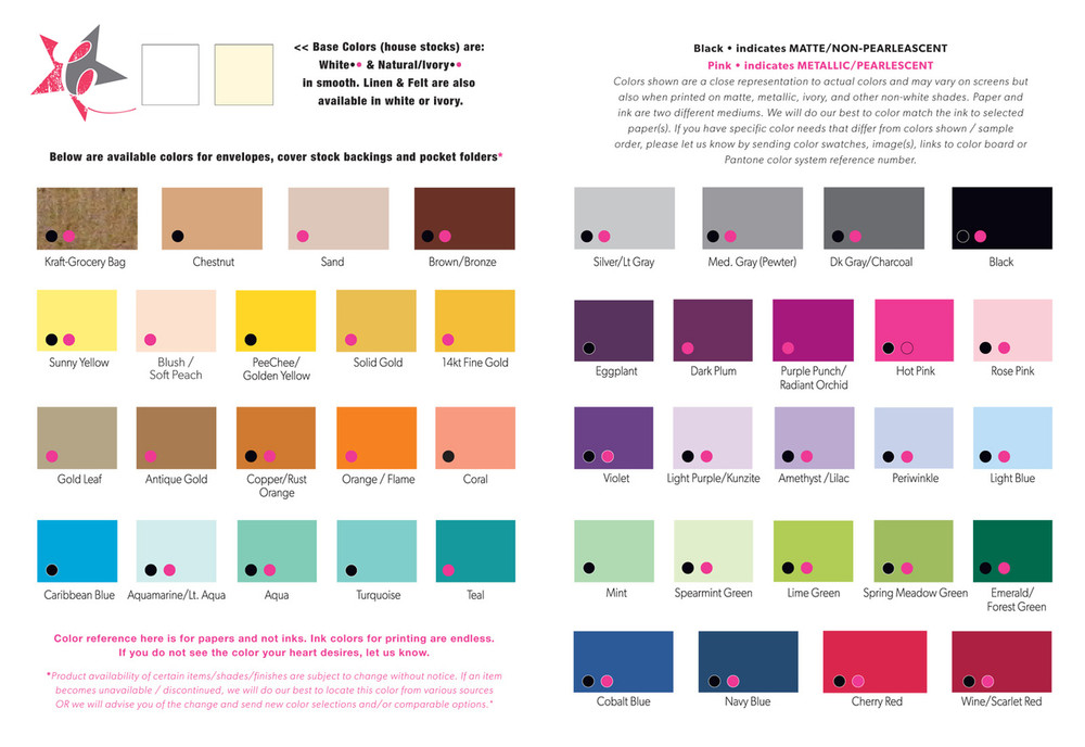 ink color ideas / paper backing & envelope upgrade colors