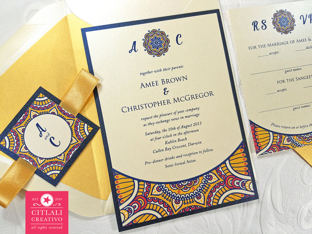 Moroccan Print Wedding Invitations with Ribbon Closure